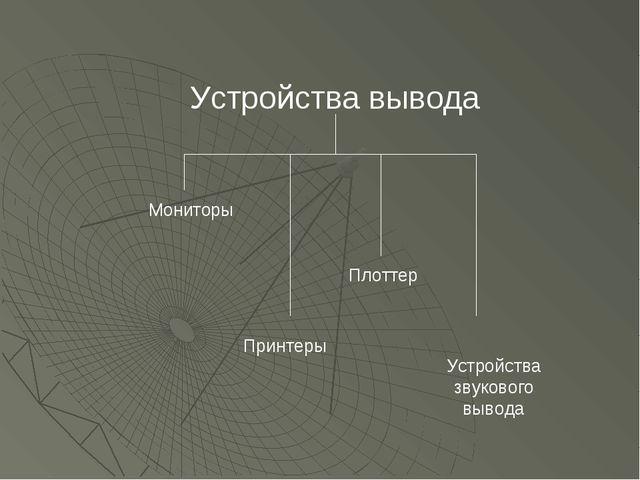 Мониторы Устройства вывода Принтеры Плоттер Устройства звукового вывода