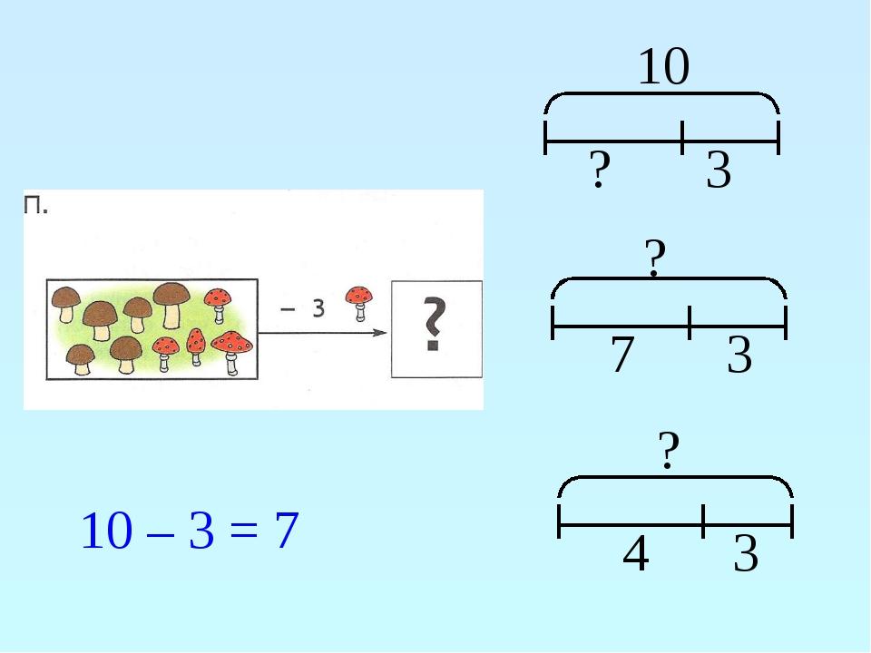 10 ? 3 ? 7 3 ? 4 3 10 – 3 = 7
