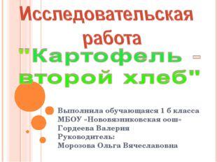 Выполнила обучающаяся 1 б класса МБОУ «Нововязниковская оош» Гордеева Валерия
