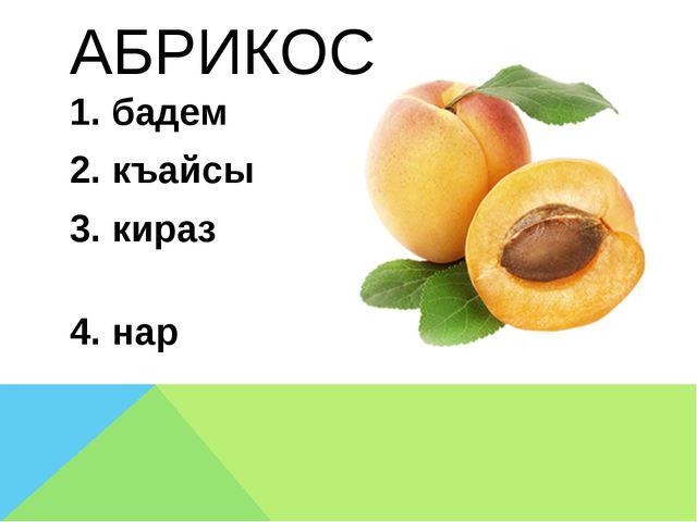 АБРИКОС 1. бадем 2. къайсы 3. кираз 4. нар