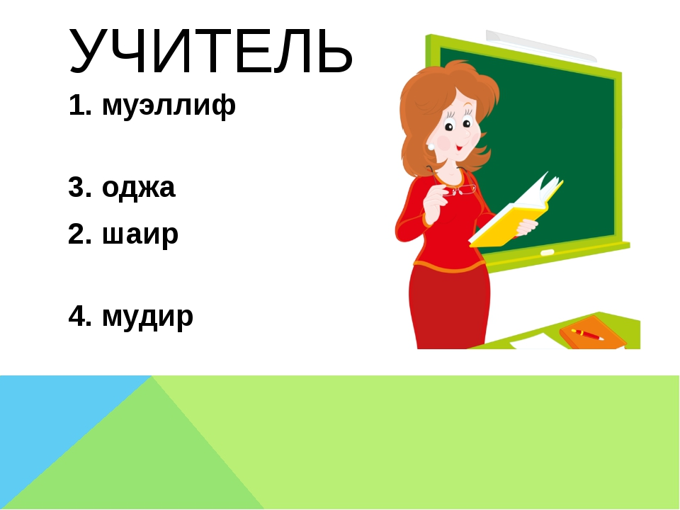 УЧИТЕЛЬ 1. муэллиф 3. оджа 2. шаир 4. мудир