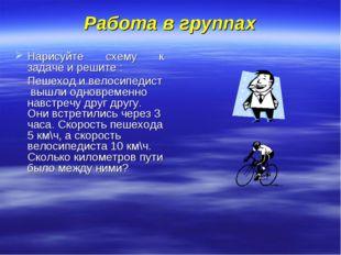Работа в группах Нарисуйте схему к задаче и решите : Пешеход и велосипедист