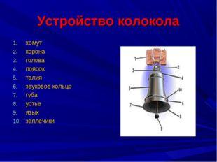 Устройство колокола хомут корона голова поясок талия звуковое кольцо губа уст