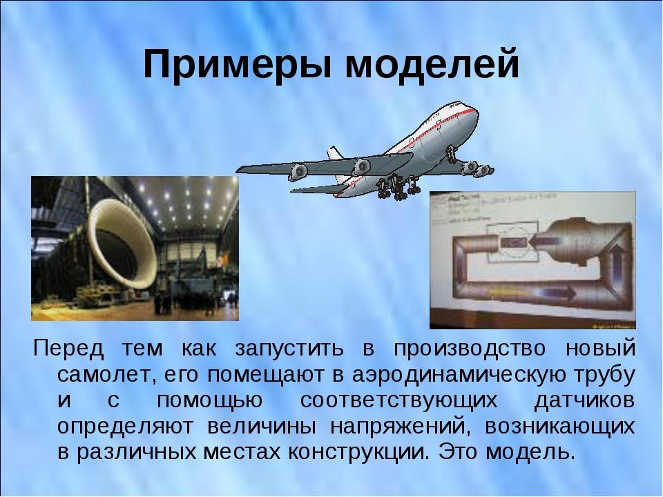Примеры моделей Перед тем как запустить в производство новый самолет, его пом...