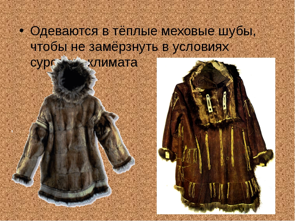 Одеваются в тёплые меховые шубы, чтобы не замёрзнуть в условиях сурового клим...
