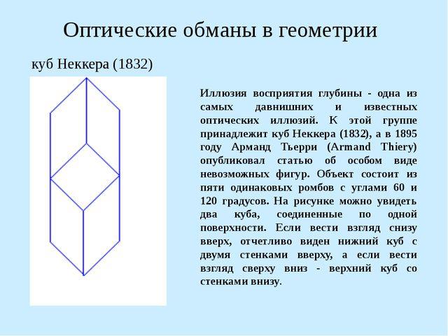 Оптические обманы в геометрии Иллюзия восприятия глубины - одна из самых давн...
