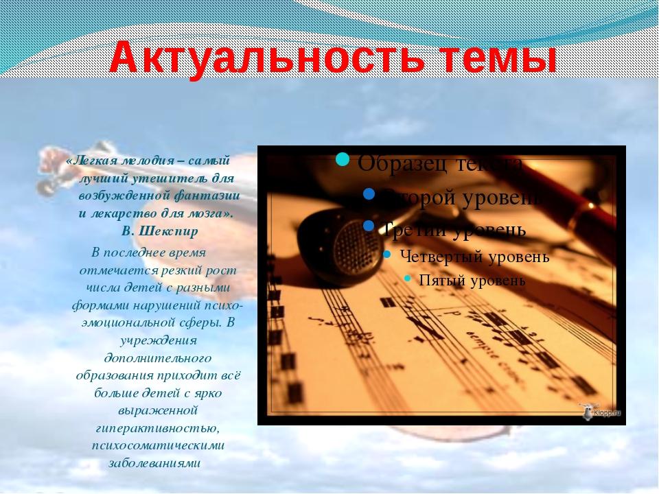 Актуальность темы «Легкая мелодия – самый лучший утешитель для возбужденной ф...