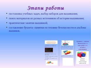 Этапы работы постановка учебных задач, выбор наборов для вышивания; поиск мат