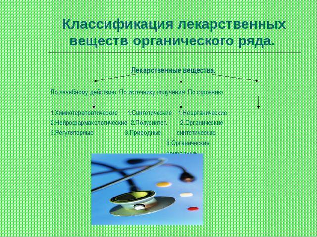 Классификация лекарственных веществ органического ряда. Лекарственные веществ...