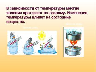 В зависимости от температуры многие явления протекают по-разному. Изменение