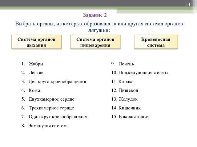 Задание 2 Выбрать органы, из которых образована та или другая система органов...