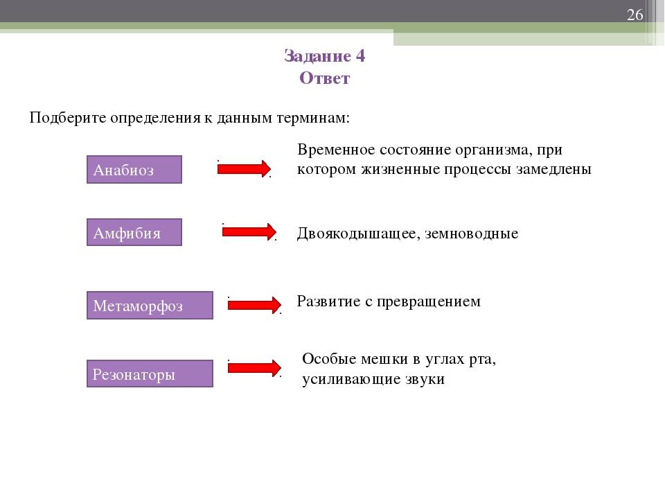 Задание 4 Ответ Подберите определения к данным терминам: * Анабиоз Амфибия Ме...