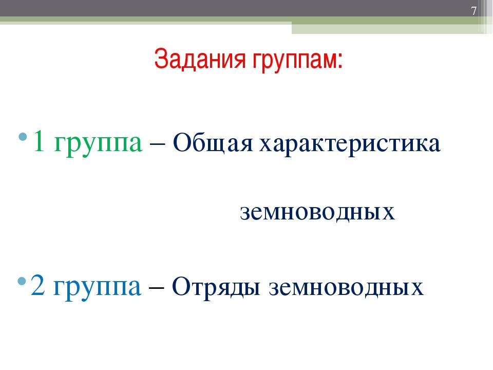 Задания группам: 1 группа – Общая характеристика земноводных 2 группа – Отряд...