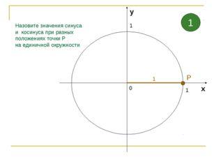 Назовите значения синуса и косинуса при разных положениях точки Р на единично