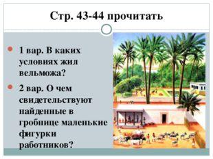 Стр. 43-44 прочитать 1 вар. В каких условиях жил вельможа? 2 вар. О чем свиде