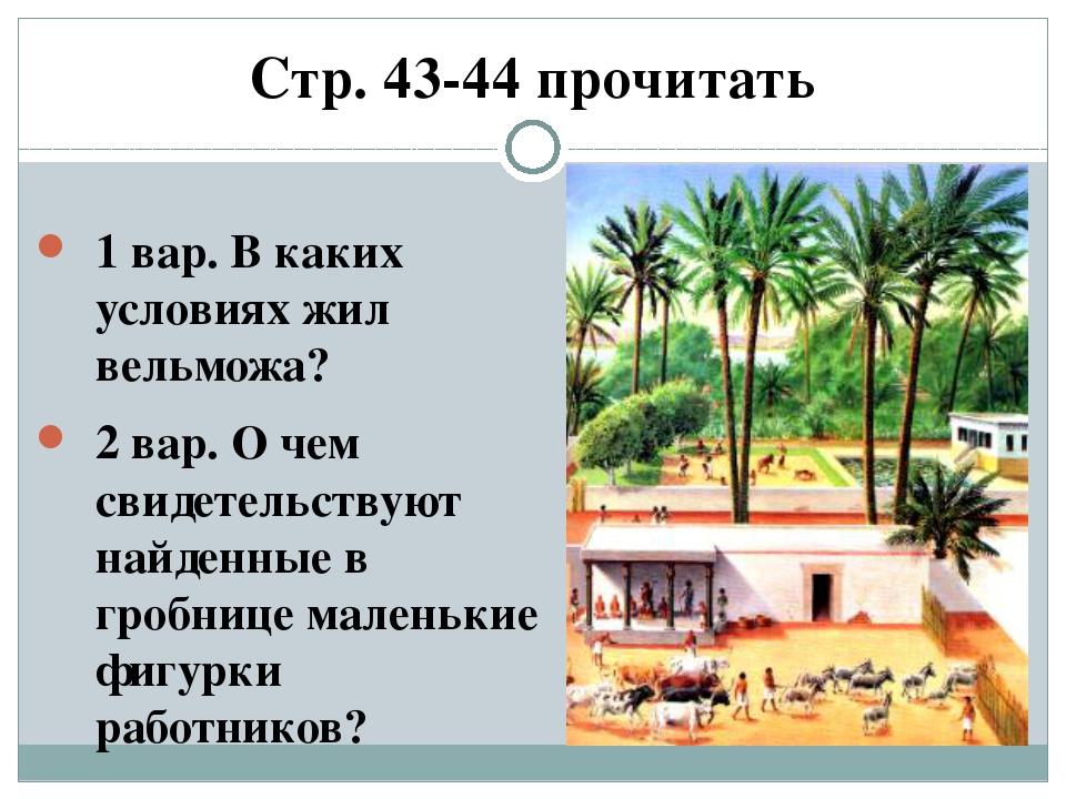 Стр. 43-44 прочитать 1 вар. В каких условиях жил вельможа? 2 вар. О чем свиде...