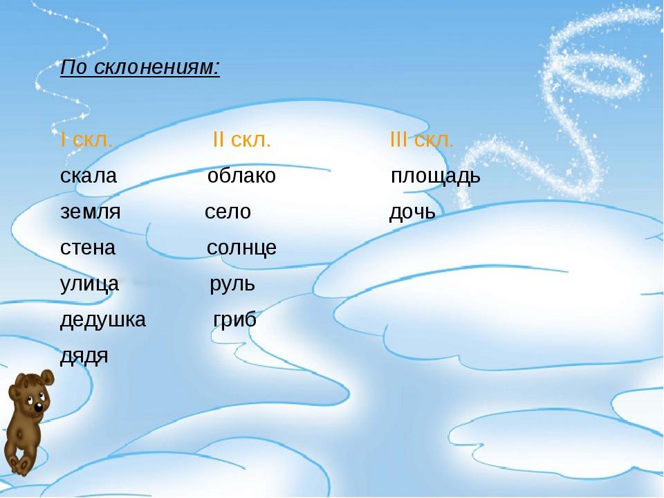 По склонениям: I скл. II скл. III скл. скала облако площадь земля село дочь с...
