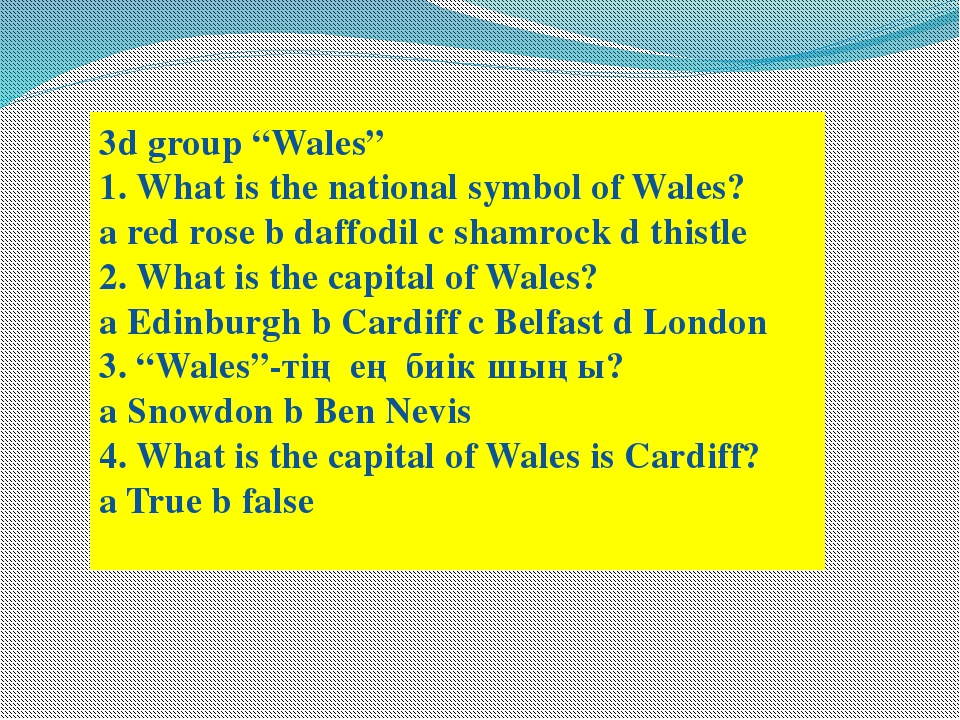 "3d group ""Wales"" 1. What is the national symbol of Wales? a red rose b daffod..."