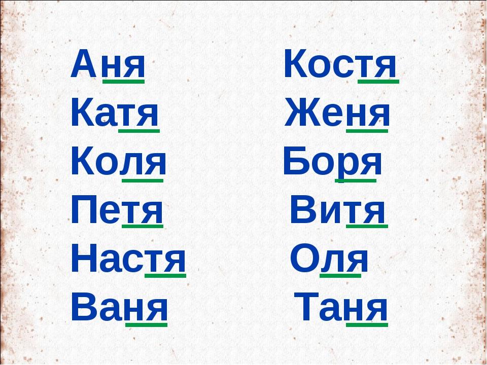 Аня Костя Катя Женя Коля Боря Петя Витя Настя Оля Ваня Таня