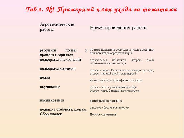 Табл. №1 Примерный план ухода за томатами Агротехнические работы Время пров...