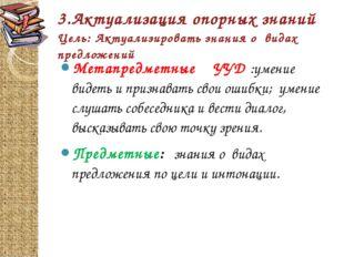 3.Актуализация опорных знаний Цель: Актуализировать знания о видах предложени