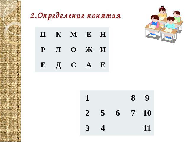 2.Определение понятия П К М Е Н Р Л О Ж И Е Д С А Е 1 8 9 2 5 6 7 10 3 4 11