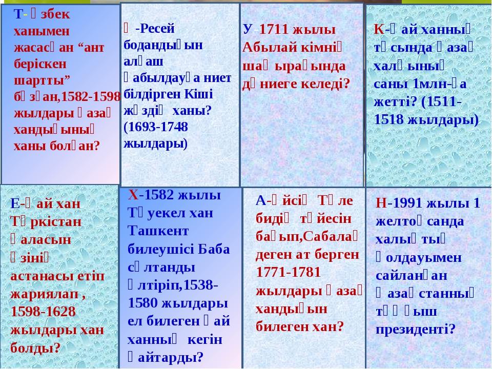 """Тәуке Батырхан Мұхаммед (1680-1715 ) Т- өзбек ханымен жасасқан """"ант беріскен..."""