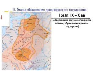 III. Этапы образования древнерусского государства. I этап: IX – X вв (объедин