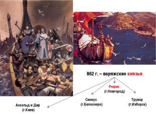 862 г. – варяжские князья Синеус (г.Белоозеро) Рюрик (г.Новгород) Трувор (г.И
