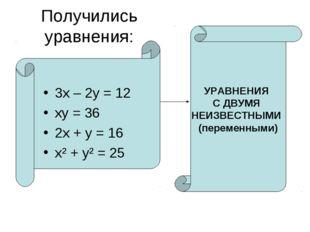 Получились уравнения: 3х – 2у = 12 ху = 36 2х + у = 16 х² + у² = 25 УРАВНЕНИЯ