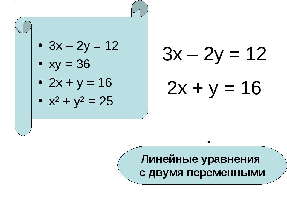 3х – 2у = 12 ху = 36 2х + у = 16 х² + у² = 25 3х – 2у = 12 2х + у = 16 Линей...