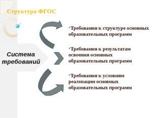Структура ФГОС Требования к структуре основных образовательных программ Требо