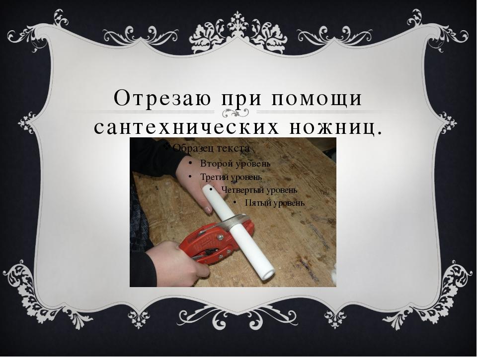Отрезаю при помощи сантехнических ножниц.