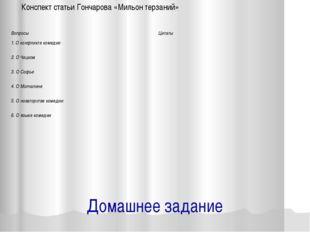 Домашнее задание Конспект статьи Гончарова «Мильон терзаний» Вопросы Цитаты 1
