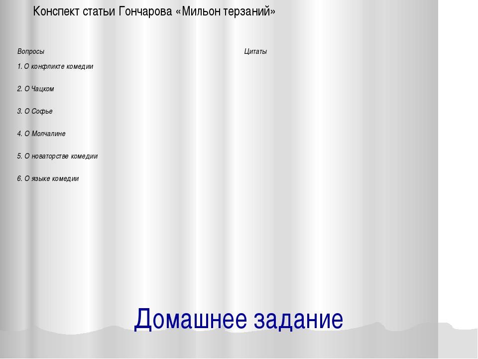 Домашнее задание Конспект статьи Гончарова «Мильон терзаний» Вопросы Цитаты 1...