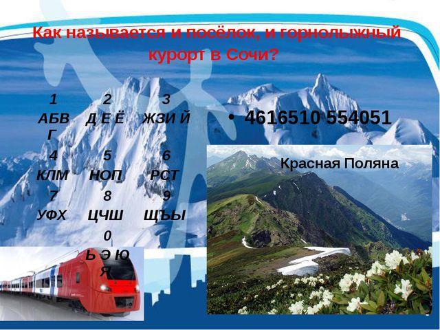 Как называется и посёлок, и горнолыжный курорт в Сочи? 4616510 554051 1 АБВГ...