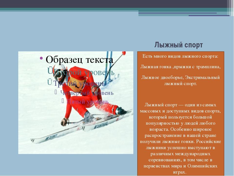 Лыжный спорт Есть много видов лыжного спорта: Лыжная гонка ,прыжки с трамплин...