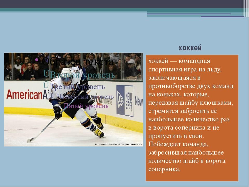 хоккей хоккей—командная спортивная игранальду, заключающаяся в противобор...