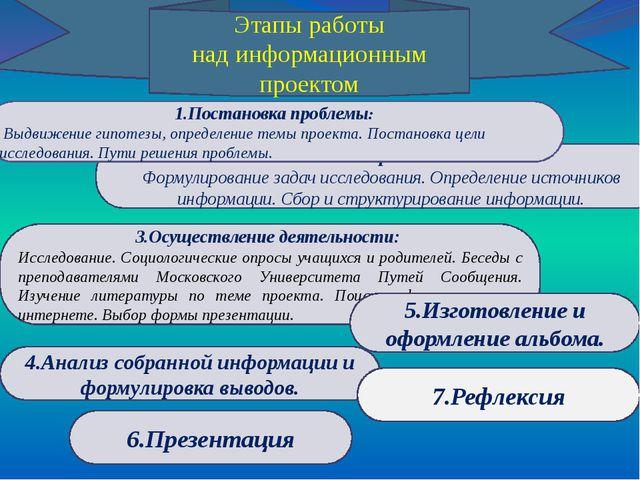 2.Планирование: Формулирование задач исследования. Определение источников инф...