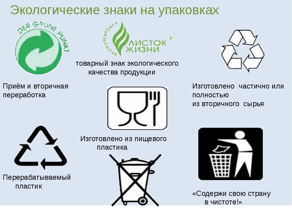 Экологические знаки на упаковках Приём и вторичная переработка Изготовлено ч...