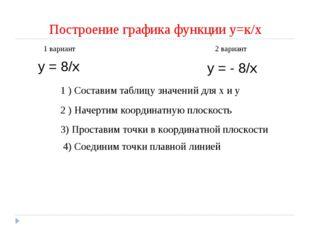 Построение графика функции у=к/х у = 8/х 1 вариант 2 вариант у = - 8/х 1 ) Со