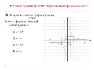 3) На чертеже показан график функции у=к/х. Укажите формулу, которой задана ф