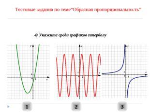 """1 2 3 4) Укажите среди графиков гиперболу Тестовые задания по теме""""Обратная п"""