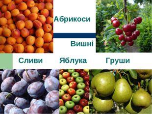 Абрикоси Вишні Сливи Яблука Груши