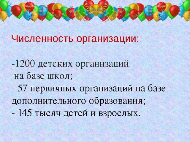 Численность организации: -1200 детских организаций на базе школ; - 57 первич...