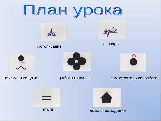 чистописание словарь физкультминутка самостоятельная работа работа в группах...