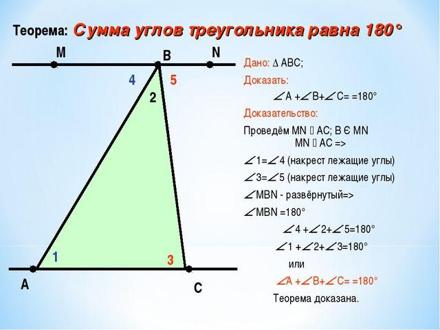 Дано: ∆ АВС; Доказать:  А + В+ С= =180° Доказательство: Проведём MN  AC;...