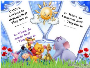 c.- Where do kangaroos live? - They live in ………… CARD 3. a.-Where do elephant