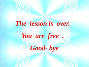 The lesson is over. You are free . Good- bye