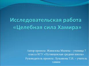 Автор проекта: Живилова Милена – ученица 7 класса КГУ «Путинцевская средняя